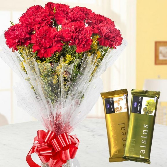 A combo of bunch of 10 red carnations and 2 cadbury temptations
