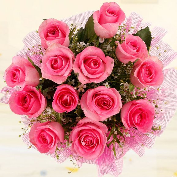 Top view of bunch of 12 pink roses - A gift of Crazy For Pink And You
