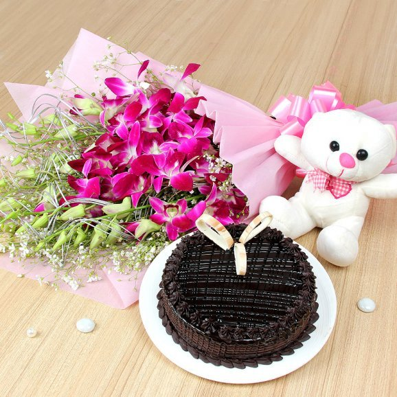 Cuddly Choco Odyssey - A Combo of 6 Orchids with Cake and Teddy