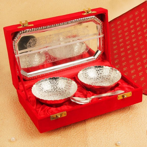 Silver Plated Bowl Tray and Spoons