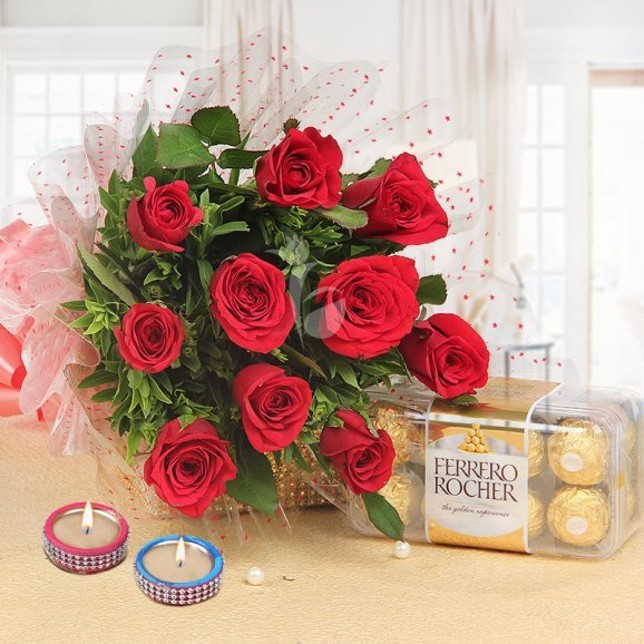 Lovesome Wishes - Diwali Gift Packs of 16 Chocolates with 10 Red Roses and 2 Diyas