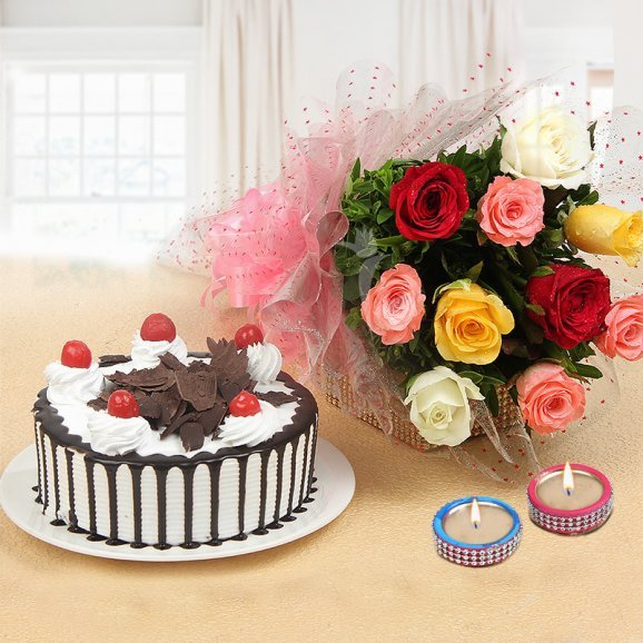 Sweetness Of Love Combo - 10 mixed roses with Half kg Black Forest cake and 2 Designer Diyas