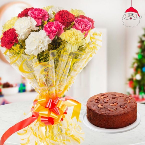 bouquet of 10 mixed color Carnations with a 1/2kg Delicious Plum Cake for Christmas
