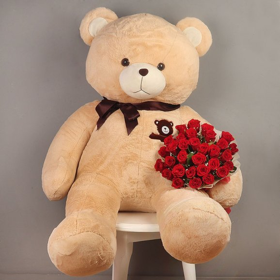 Big Teddy with Thirty Red Roses Bunch