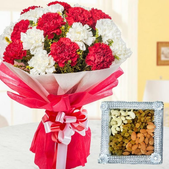 The combo consists a bunch 12 lovely red and white carnation in nice packing and 1/2 kg dry fruits