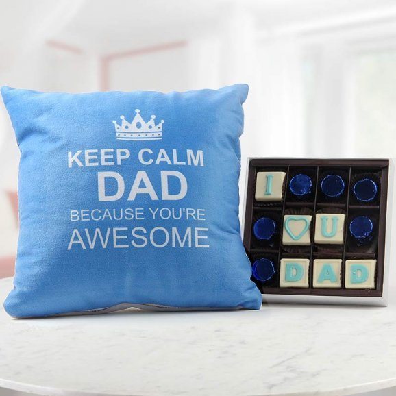 Keep Calm Dad Quoted Blue Cushion with I Love You Dad Handmade Chocolate