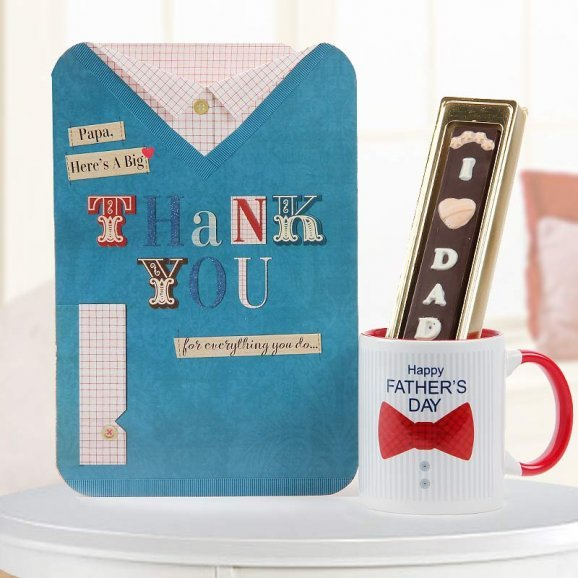 Thank you papa greeting with Happy fathers day quoted mug and sweet handmade chocolate