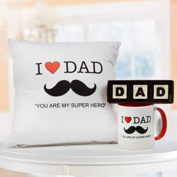 Dad you are my super hero quoted white cushion and mug with handmade chocolate