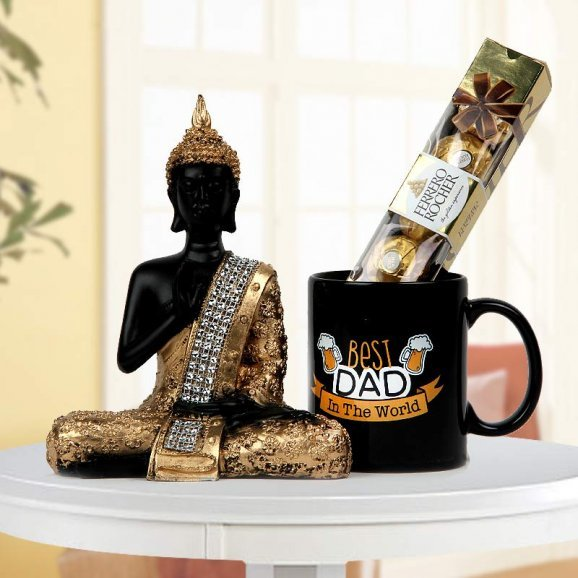 Best Dad in the World Quoted Printed Mug with Buddha God Idol and Chocolate