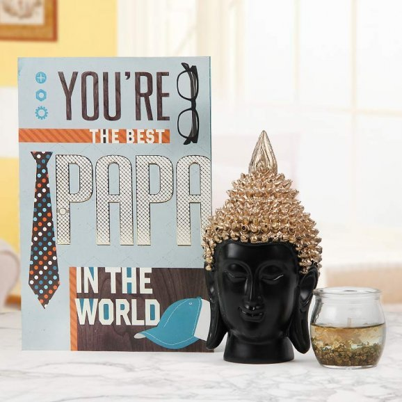 You are the best papa in the world greeting with buddha idol and gel candle - A gift for father