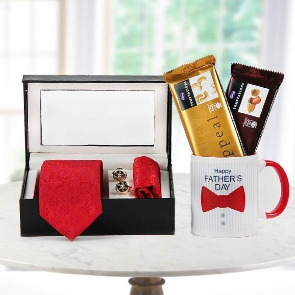 Red tie, red pocket square, cuff links with two temptations chocolate and Happy father's day quoted mug - For fathers