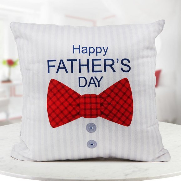 Happy father's day quoted bow special personalised cushion