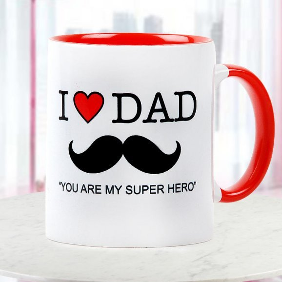 Dad you are My Super Hero Quoted Duotone Mug for Fathers Day with Front Side View