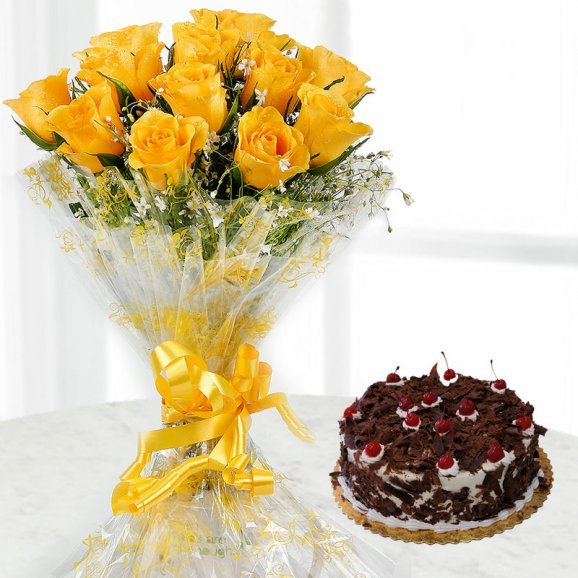 12 Yellow rose flowers with 1/2 kg blackforest cake