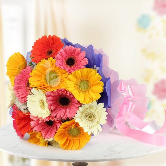 15 Mixed Gerberas in Horizontal View