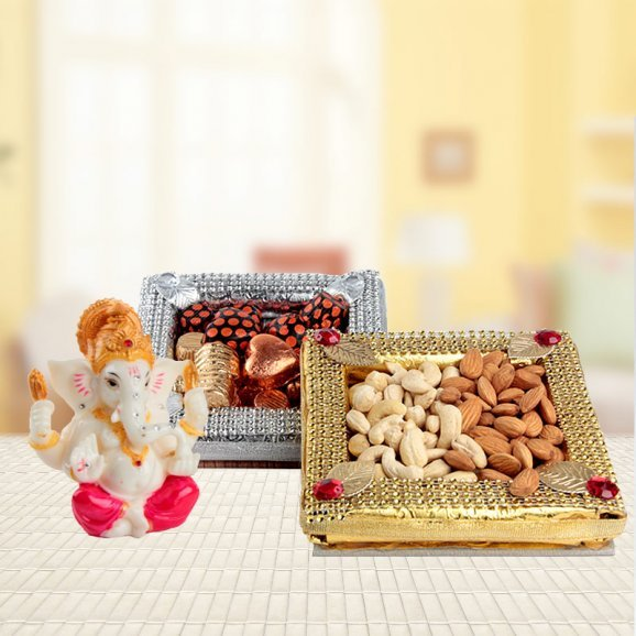 Festivities - Ganesha Idol, Dry Fruit Tray, Handmade Chocolates