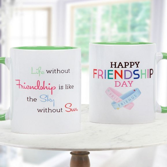 Happy Friendship Day Quoted Duotone White and Green Mug with Both Sided View