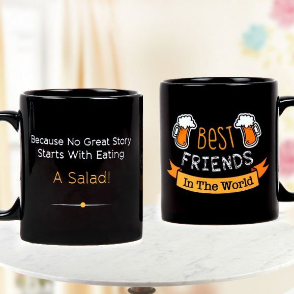 Best Friends in the World Quoted Black Coffee Mug with Both Sided View