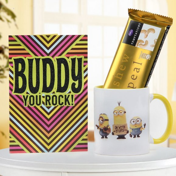 Buddy You Rock Plaque with White and Yellow Minion Mug with Temptation Chocolate