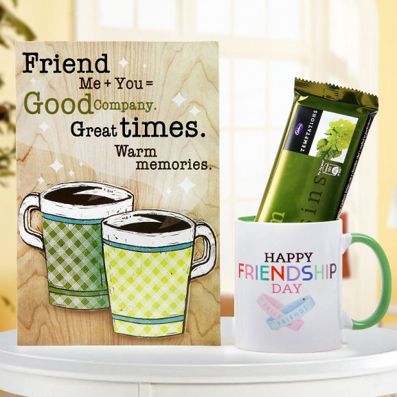 Friendship duotone mug with friendship plaque and temptation chocolate