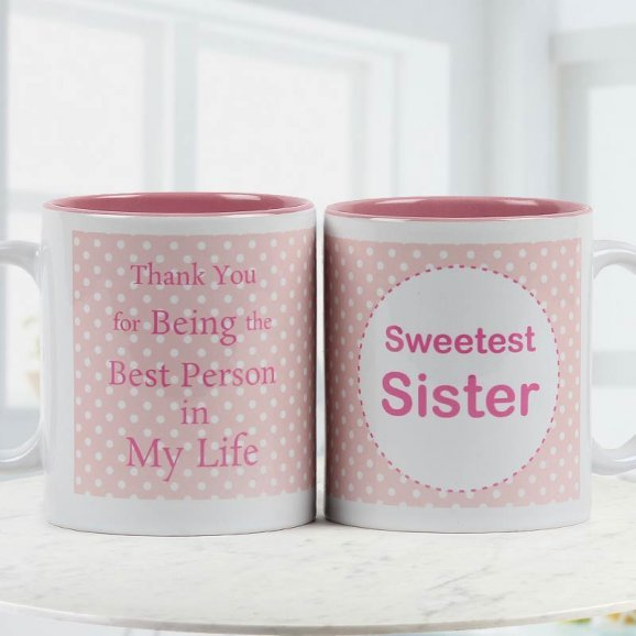 Sweetest sister quoted duotoned ceramic Coffee mug