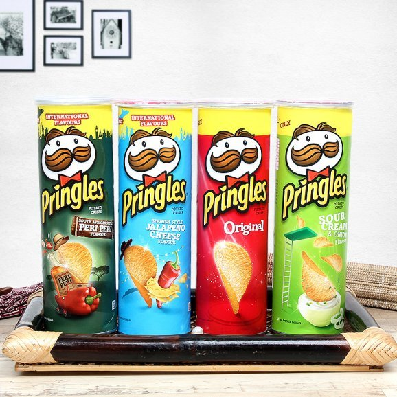 A gourmet hamper of four different flavored pringles