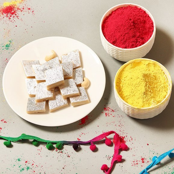 A Sweet Holi - Combo of Gulal and Sweets