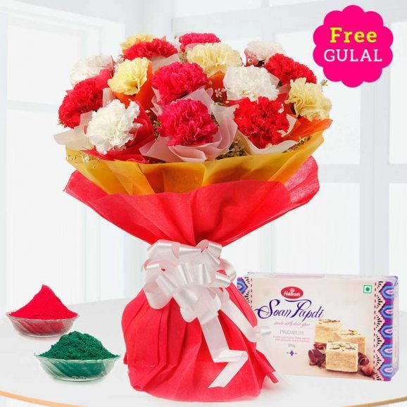 Stunning flower bouquet with Soan Papdi and gulal for Holi