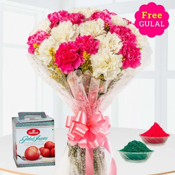White and red flower bunch with Gulab Jamun and gulal for Holi