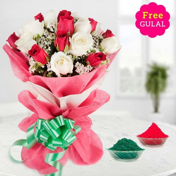 Holi flowers - White and red flowers bouquet with gulal