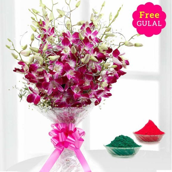 Holi flowers - Orchid flowers bunch with free gulal