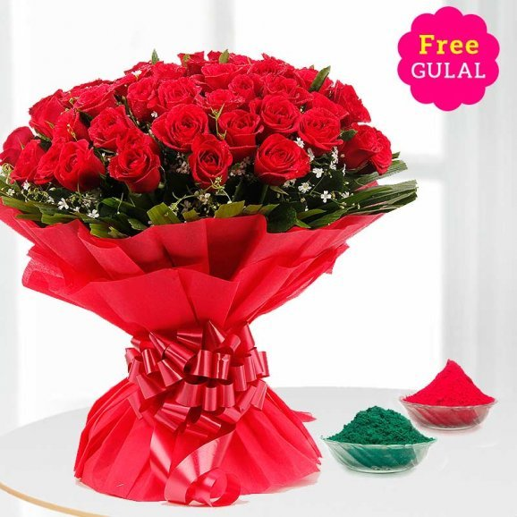 Red roses superb Holi bouquet with free Gulal