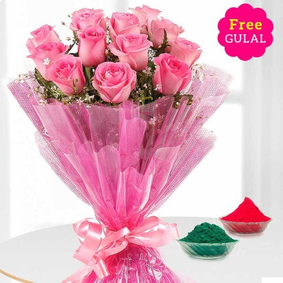 Holi flower - Pink roses bunch with free Gulal