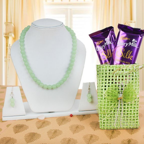 Beautiful Necklace with Zari Bag and 2 Silk Chocolates Combo