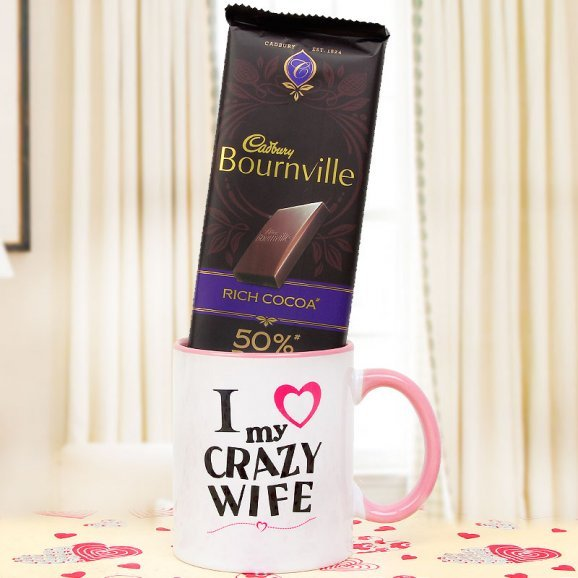 cadbury bournville with i love my wife mug