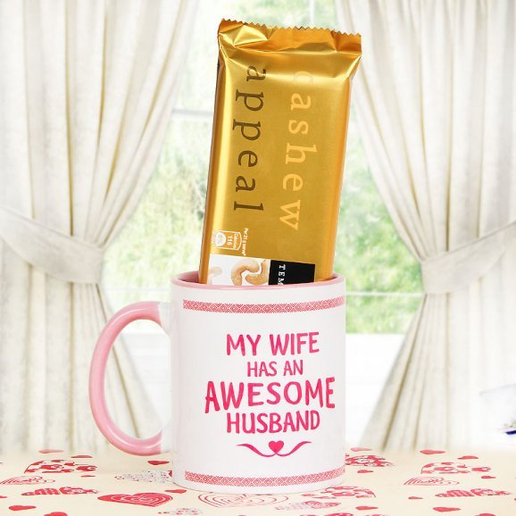 My Wife Has An Awesome Husband mug and temptation combo