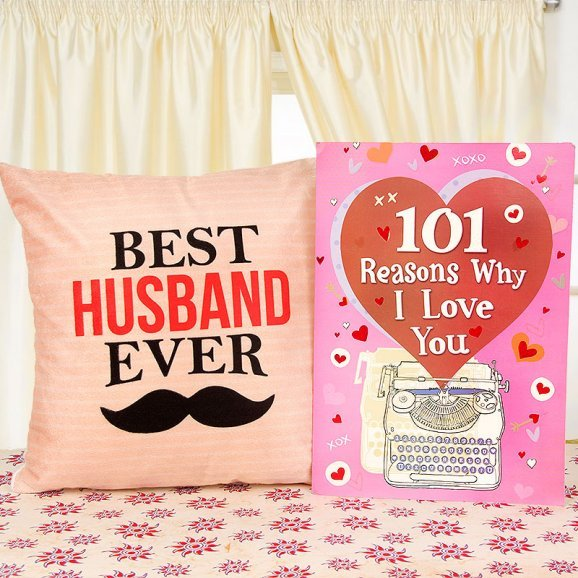 Best Husband Ever cushion with card