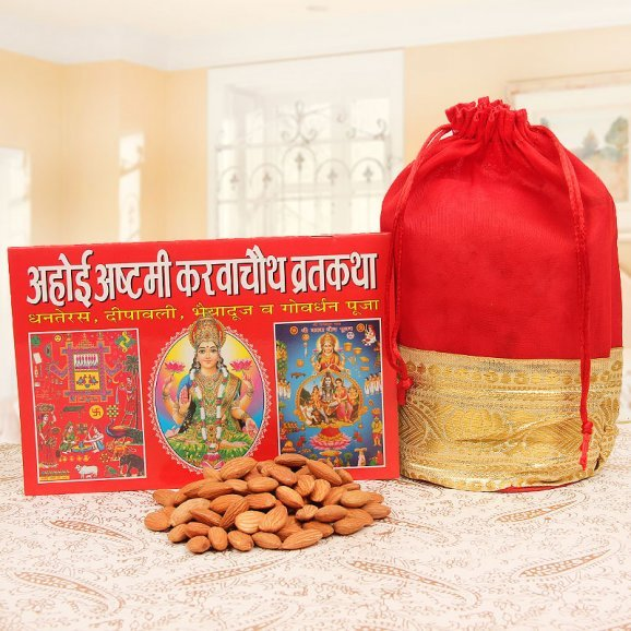 Karwa Chauth Sargi Combo - Dry Fruits with Pooja Book
