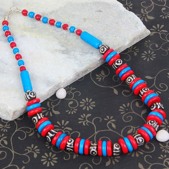 Blue Black Red Stone Necklace