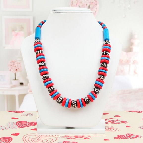 Blue Black Red Stone Necklace with Wearing View