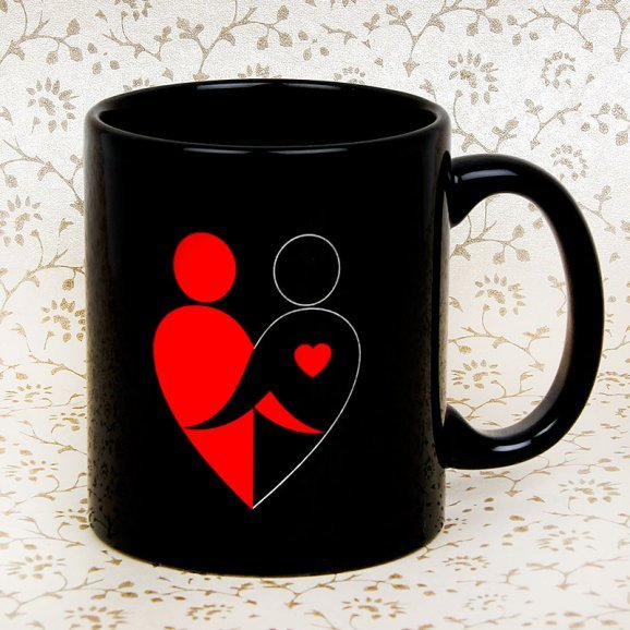 Lucky Charm Black Printed Mug with Front Sided View
