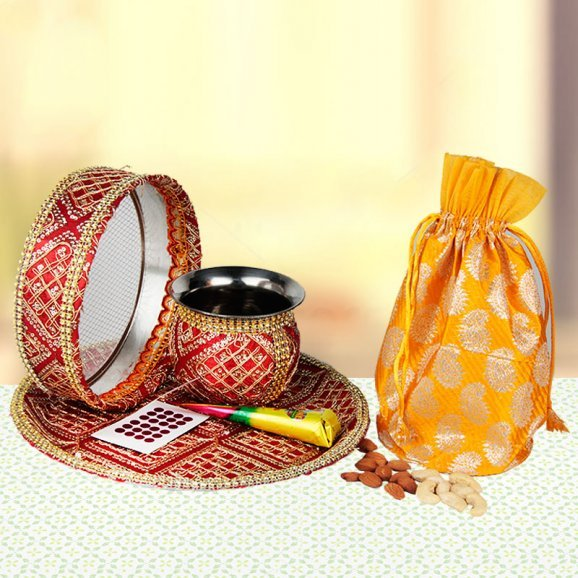 Karwa Chauth Pooja Thali Set with Sargi - Buy Online
