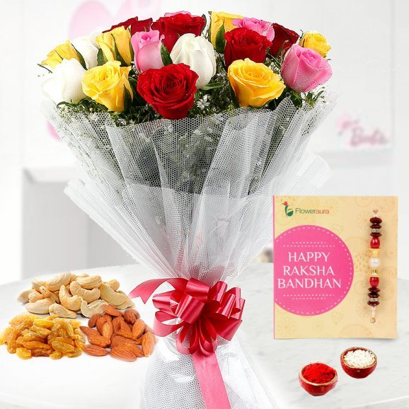Rakhi with Red Yellow and White Roses