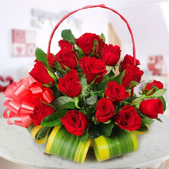 A Basket of 30 Red Roses with a Lovely Ribbon Wrapped
