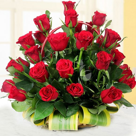 A basket of 40 long stem Red Roses