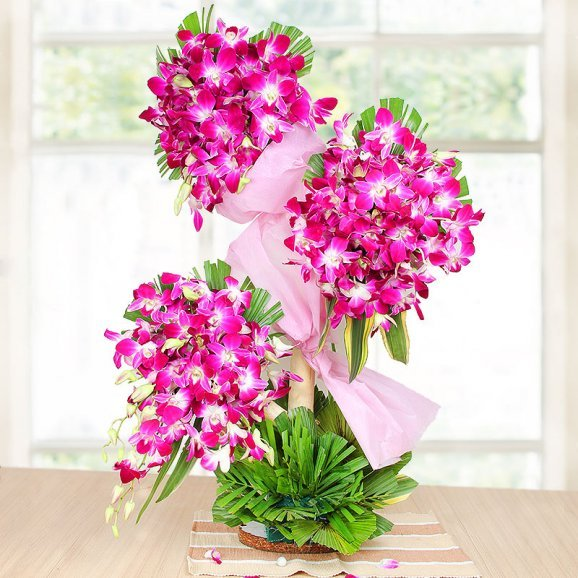 90 Purple Orchids Arrangement