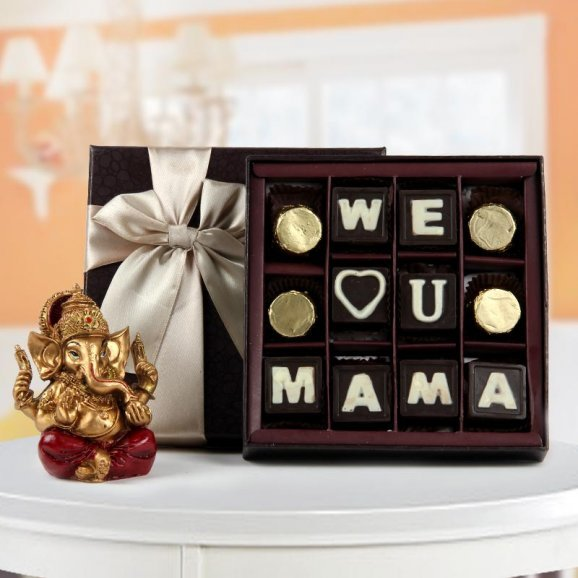 We love you mama chocolate with Ganesh Ji god idol - Perfect gift for religious mother