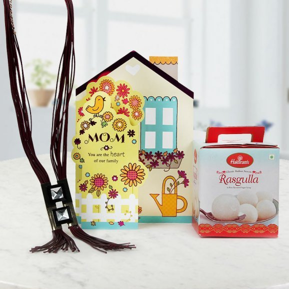 Mothers day card with 1kg Rasgulla and necklace for your mother