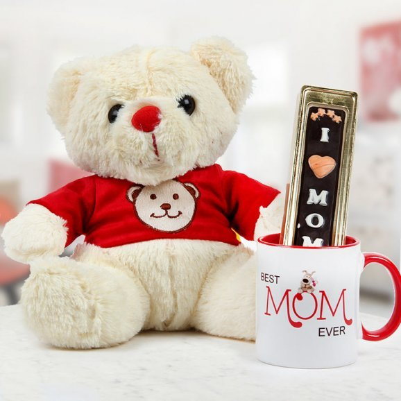 Cute teddy with mom theme handmade chocolate and mug - A cool mothers day gift idea