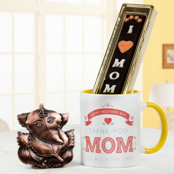 Ganesha god idol with Thankyou Mom mug and I love mom chocolate - For Mothers day